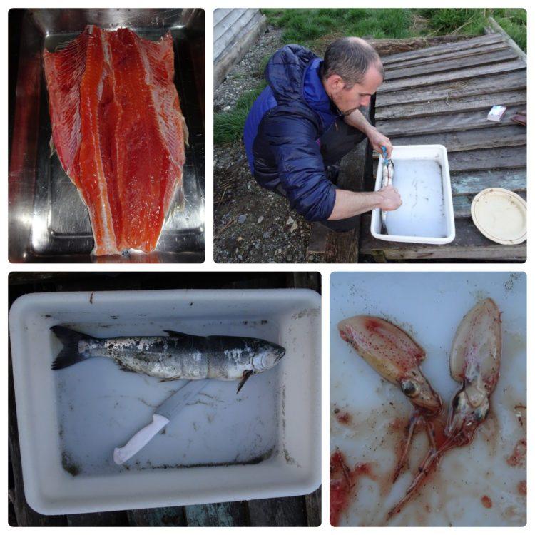 Découpage du saumon avec 2 petites surprises dans son ventre !
