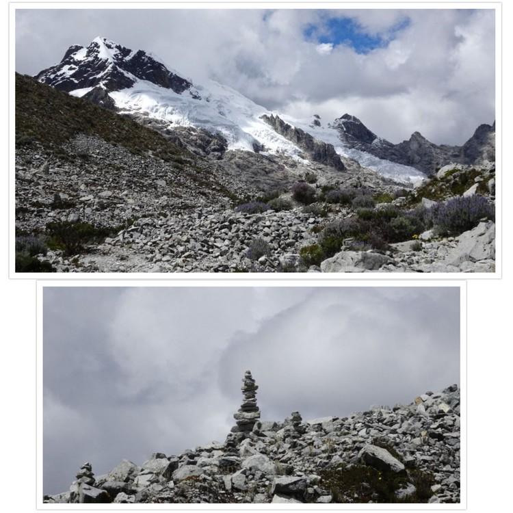Nevada Yanapaccha et cairn devant les nuages