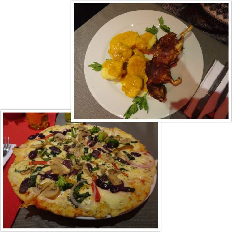 Repas du soir : Cuy al horno et pizza