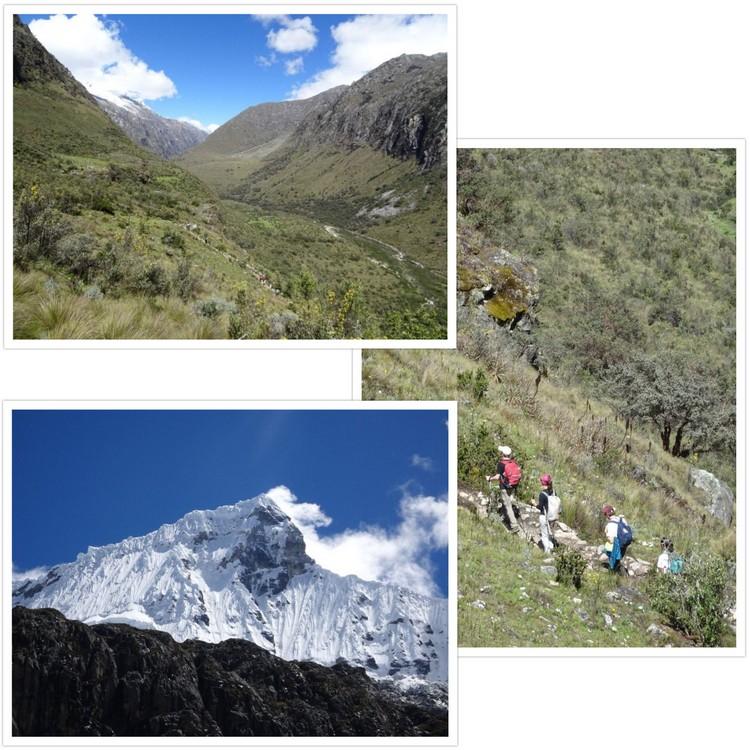 Début de la montée vers la Laguna 69 et vue sur le fond de la vallée du Rio Ranrahirca