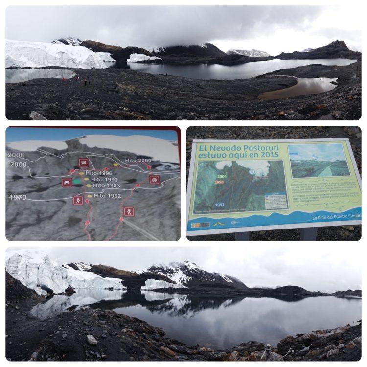Glacier Pastoruri et les panneaux qui nous explique son recul important !