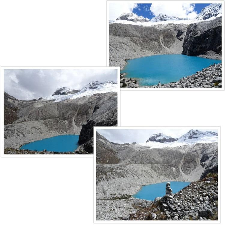 Le bleu turquoise de cette lagune dénote dans ce paysage avec les dégradés de blancs et de gris