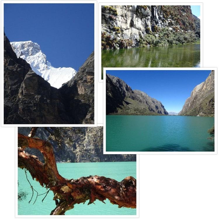 Pose photo à la Laguna Chinancocha et vue sur le sommet nord du Huascaran