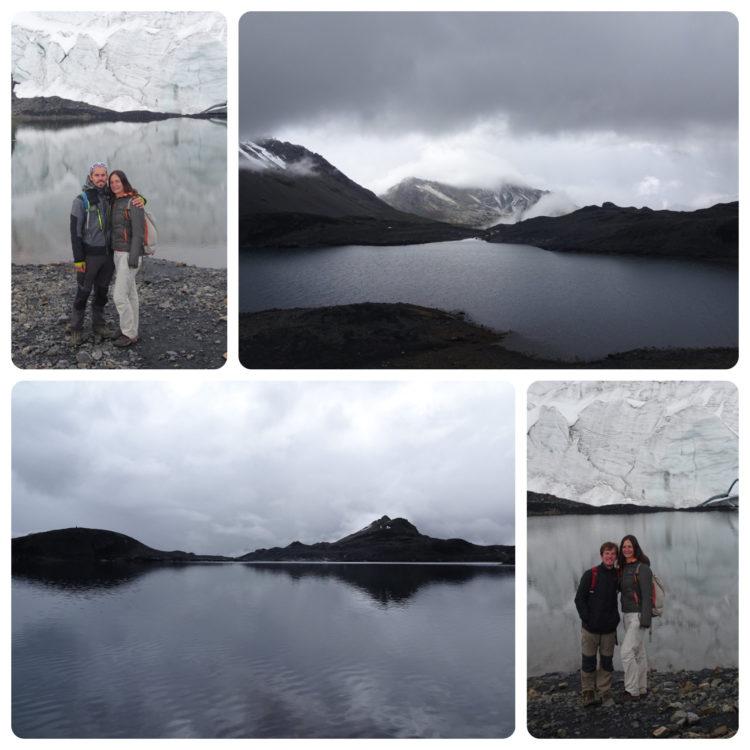 On pose pour la postérité et vues du lac glacière dont le volume a été multiplié par près de 50 en quelques années !