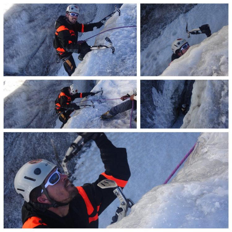 On s'amuse ! Cascade de glace à 4900m... c'est dur !