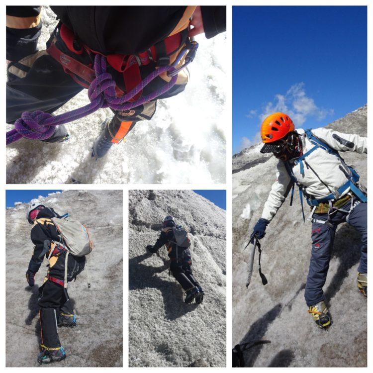 Exercices de cramponnage sur le vieux glacier