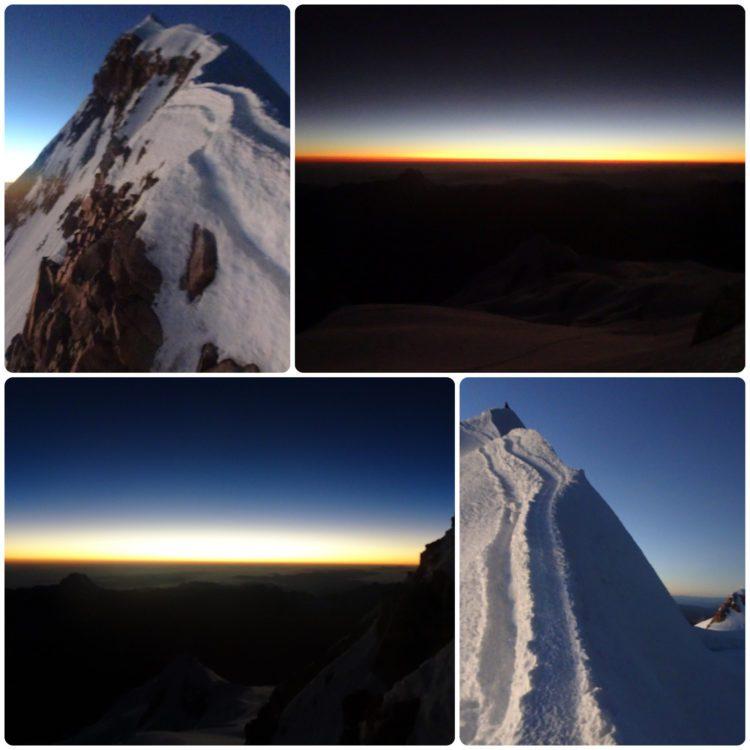 Levé de soleil à l'approche du sommet et l'arête sommitale !