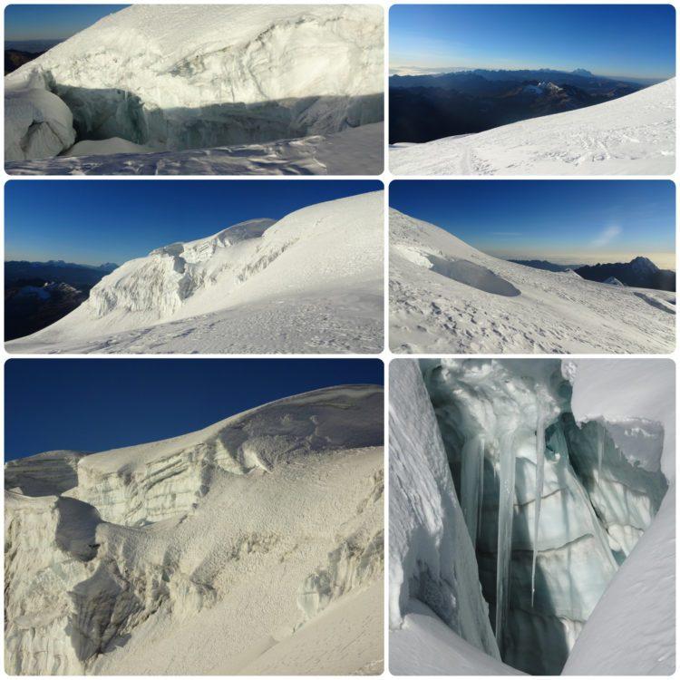 Neige et crevasses dans la descente du Huayna Potosi