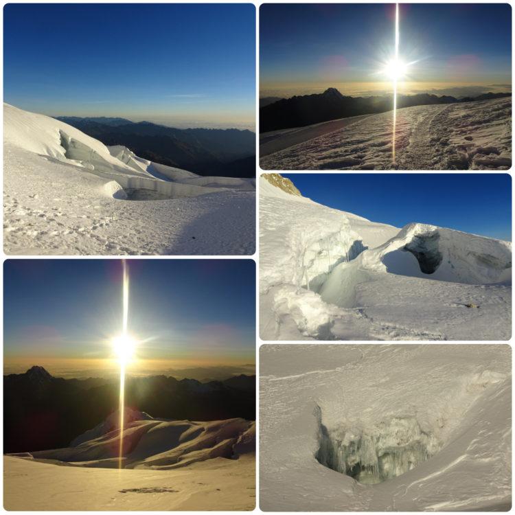 Neige, soleil et crevasses vue dans la descente