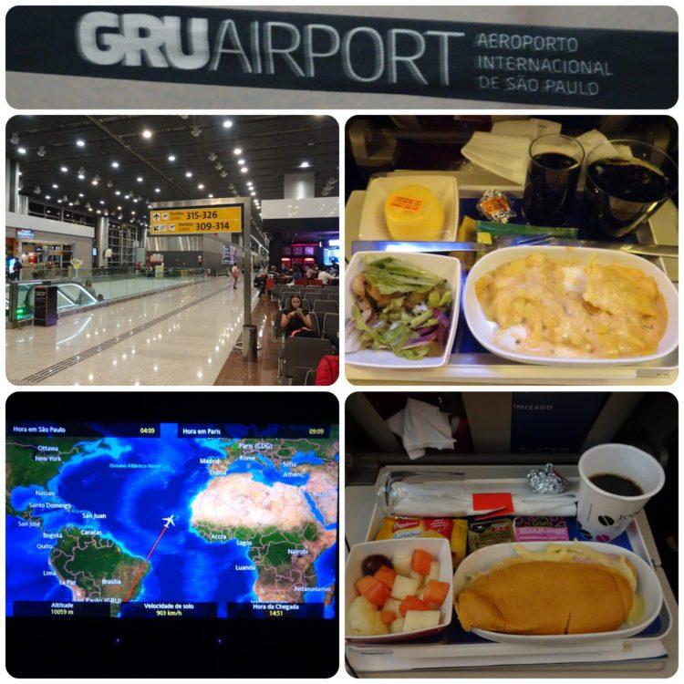 L'aéroport de GRU et repas dans l'avion vers Paris