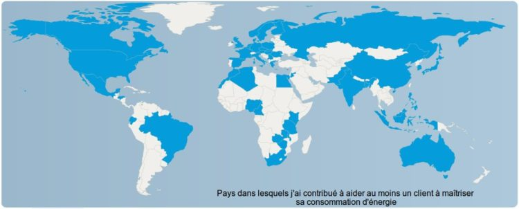 Liste des pays où j'ai installé au moins une comptabilité énergétique