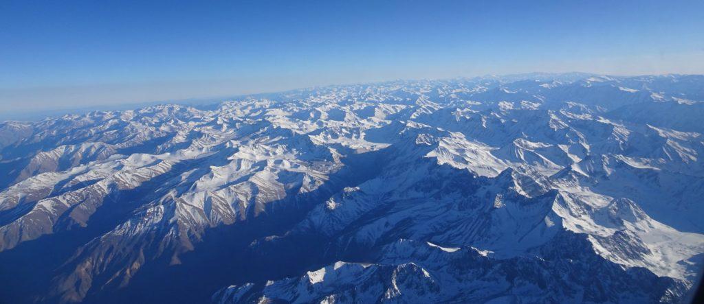 Vue sur la cordillère des Andes depuis l'avion