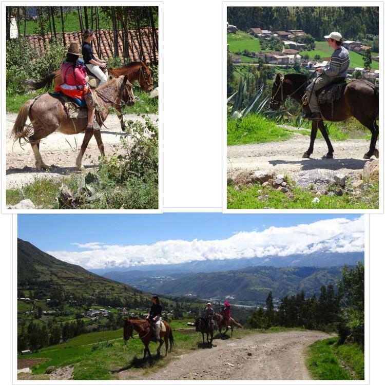 A cheval, tranquillement sur une route de montagne