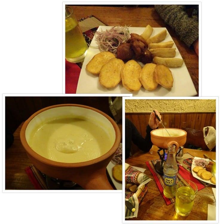 Repas péruvien pour Flo et fondue avec du fromage français pour nous !