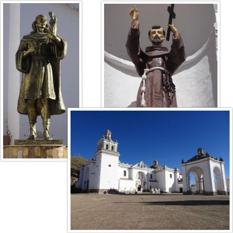 Basilique de la Vierge de Copacabana et statue en l'honneur de Tito Yupanqui