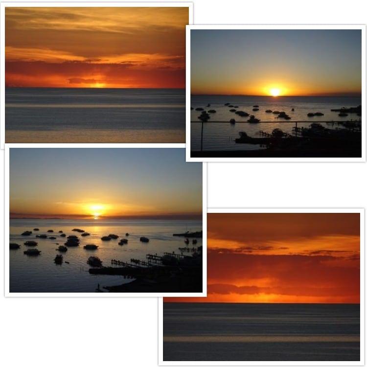 Différents couchers de soleils observés depuis la terrasse de l'hôtel !
